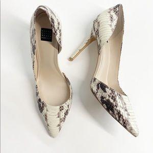 WHBM Ella d'Orsay Snakeskin Heels